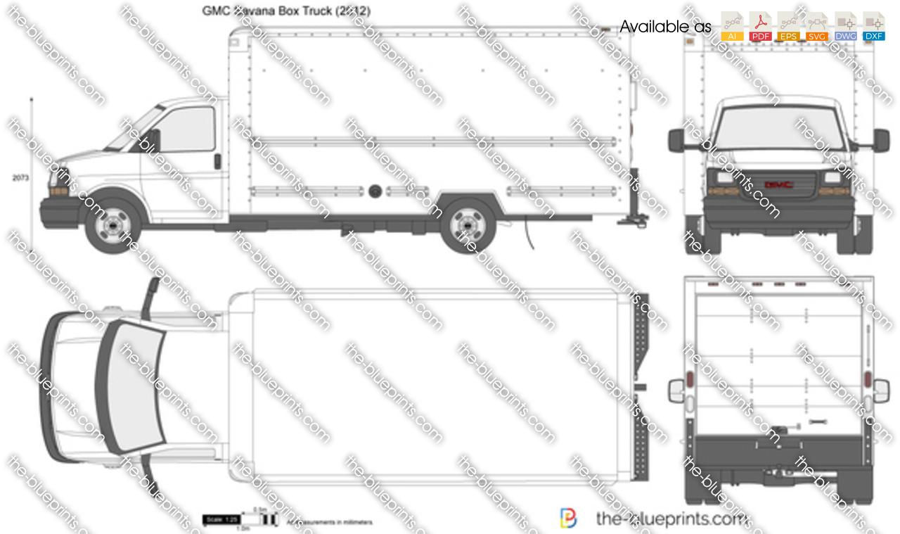 Gmc Savana Box Truck Vector Drawing
