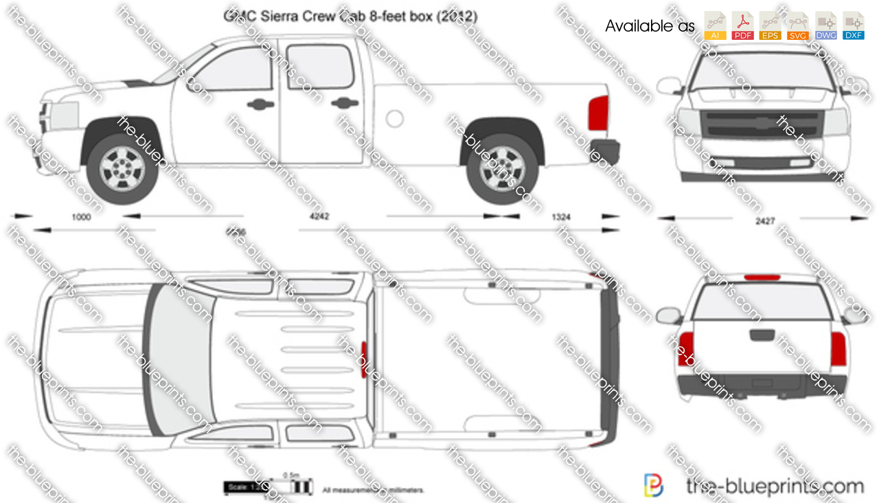 Crew Cab Box Truck For Sale >> GMC Sierra Crew Cab 8-feet box vector drawing