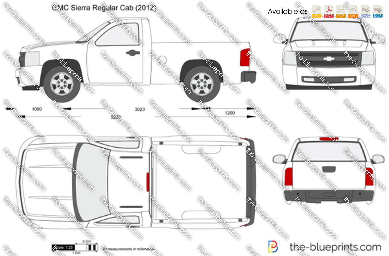 gmc sierra regular cab vector drawing