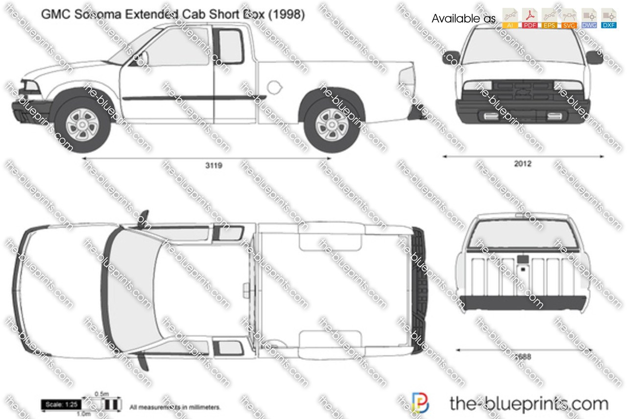 gmc sonoma extended cab short box vector drawing