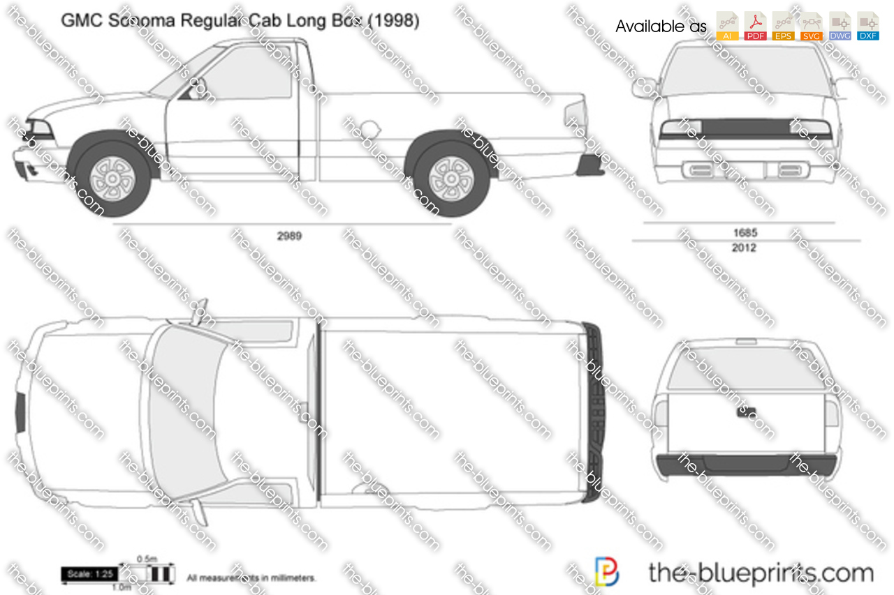 gmc sonoma regular cab long box vector drawing