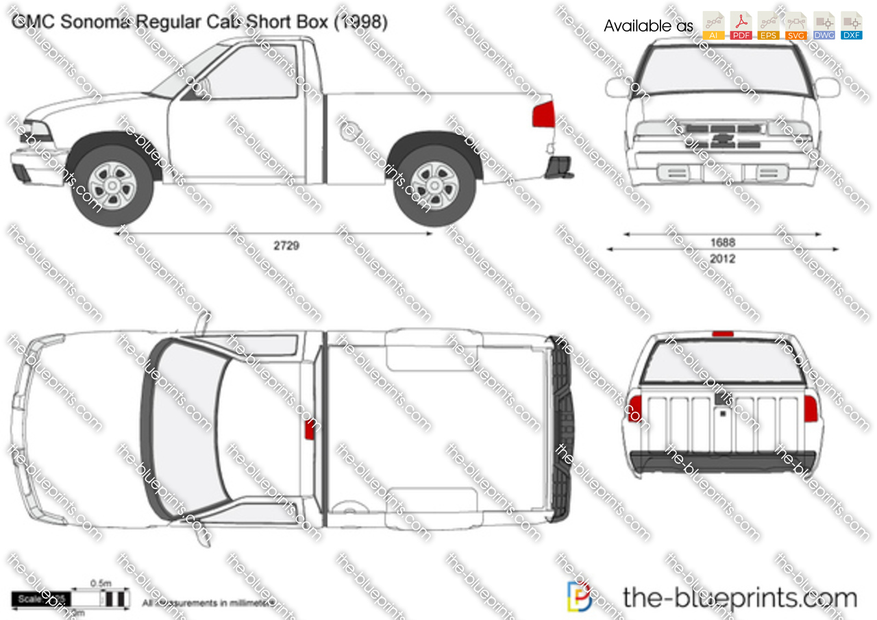 gmc sonoma regular cab short box vector drawing