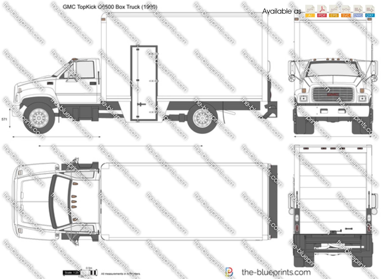 gmc topkick c6500 box truck vector drawing