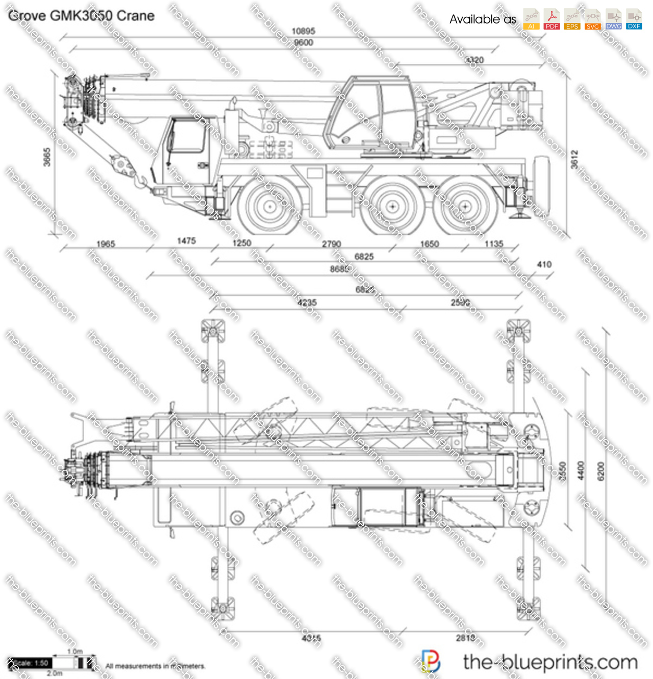 Grove Gmk3050 Crane Vector Drawing Schematic