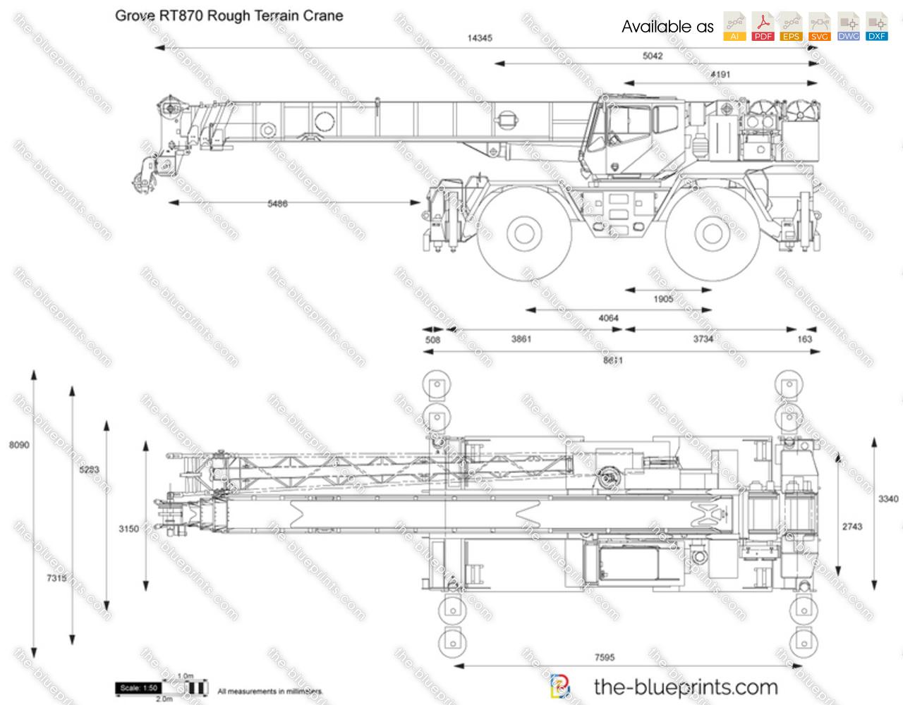 Grove RT870 Rough Terrain Crane