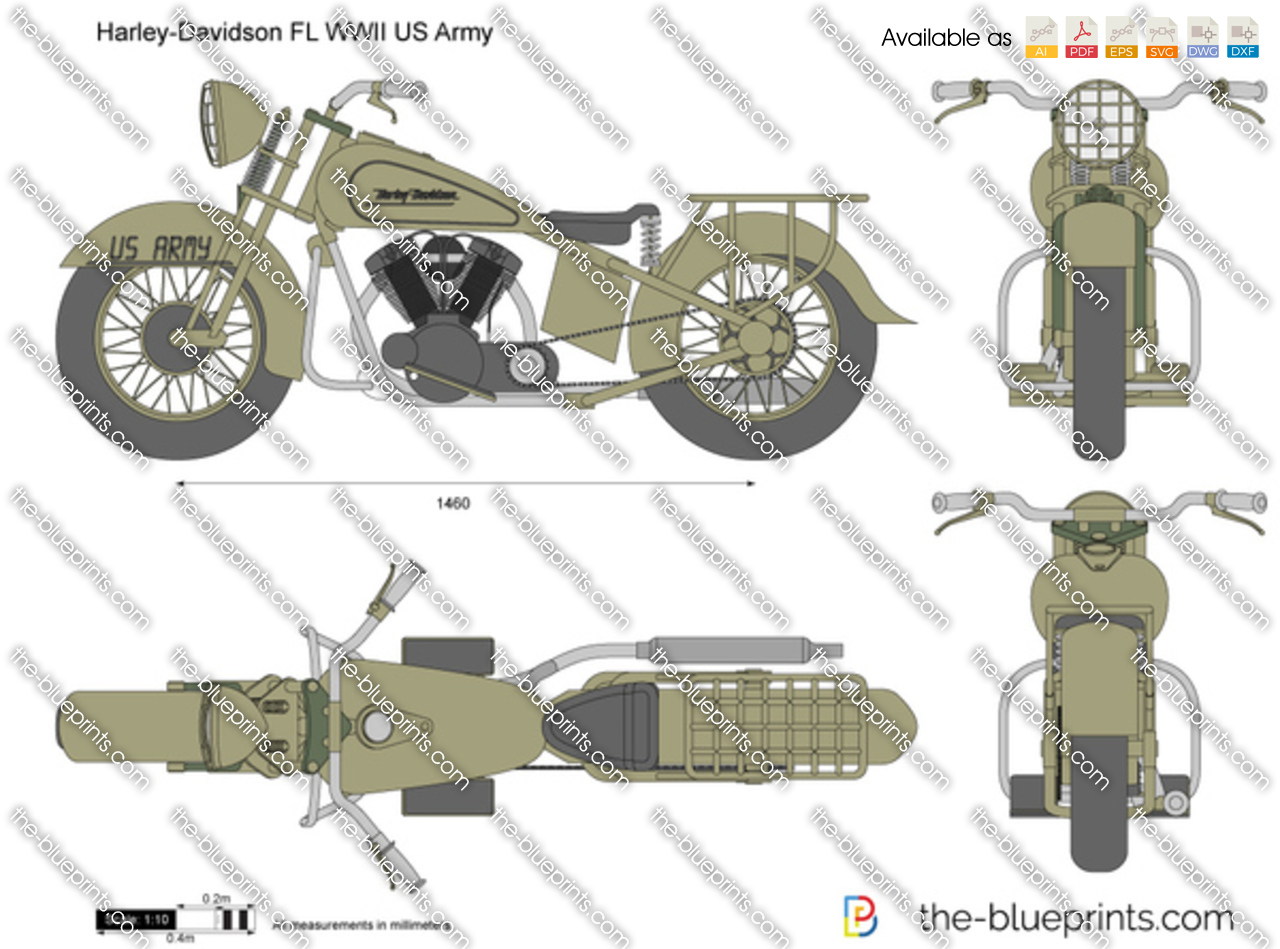 Harley davidson fl wwii us army vector drawing for Florida blueprint