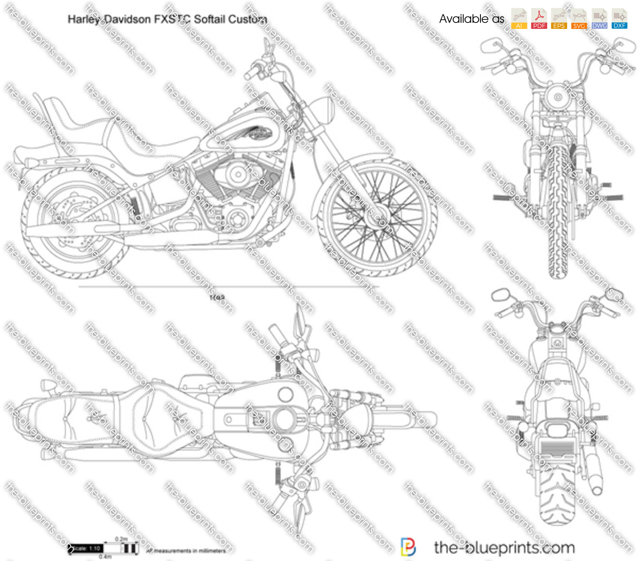 The blueprints vector drawing harley davidson fxstc harley davidson fxstc softail custom malvernweather Choice Image