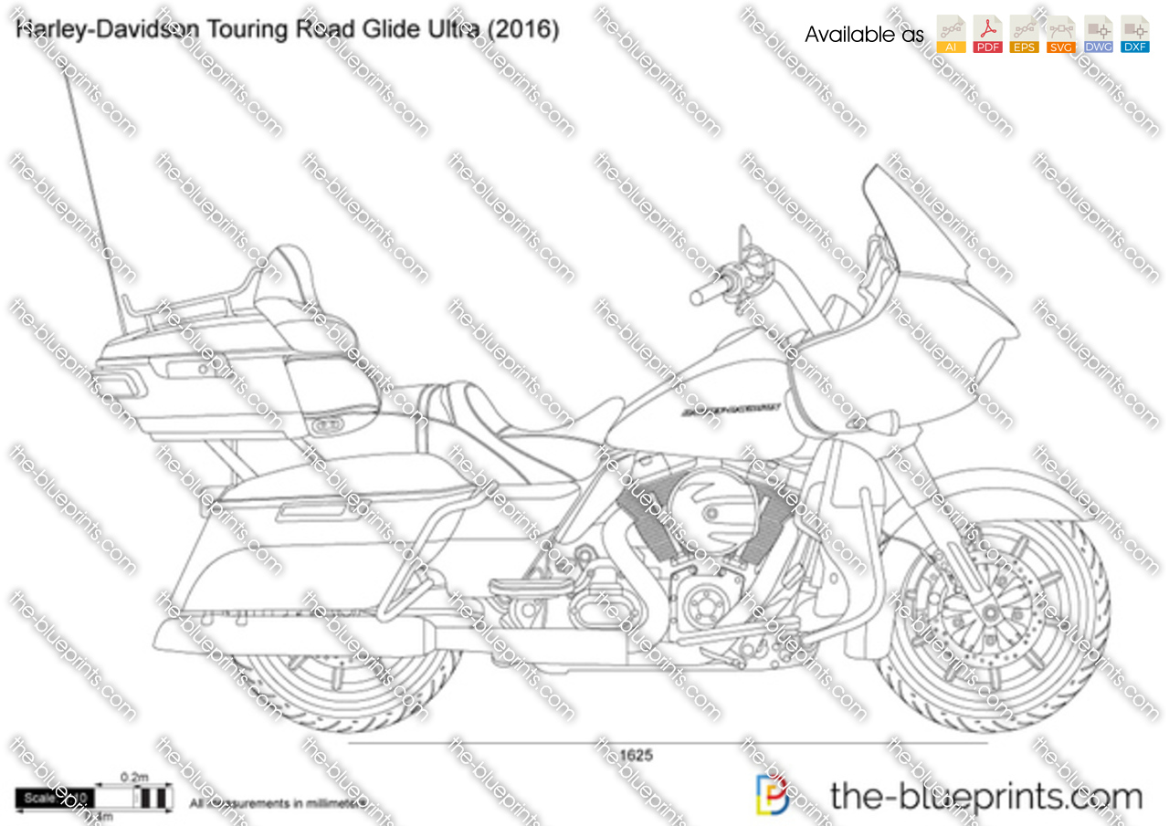 Harley Road Glide For Sale >> Harley-Davidson Touring Road Glide Ultra vector drawing