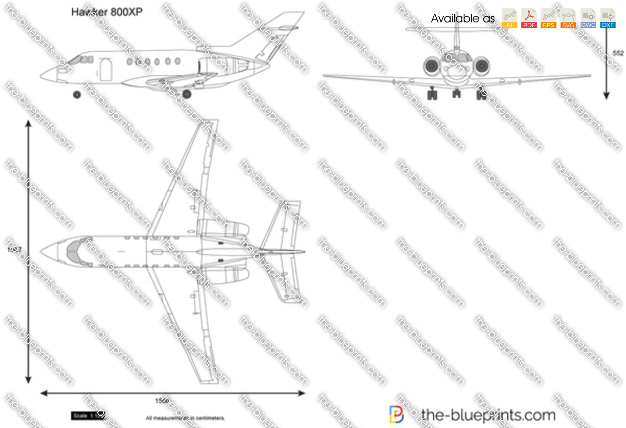 The blueprints vector drawing hawker 800xp hawker 800xp malvernweather Choice Image