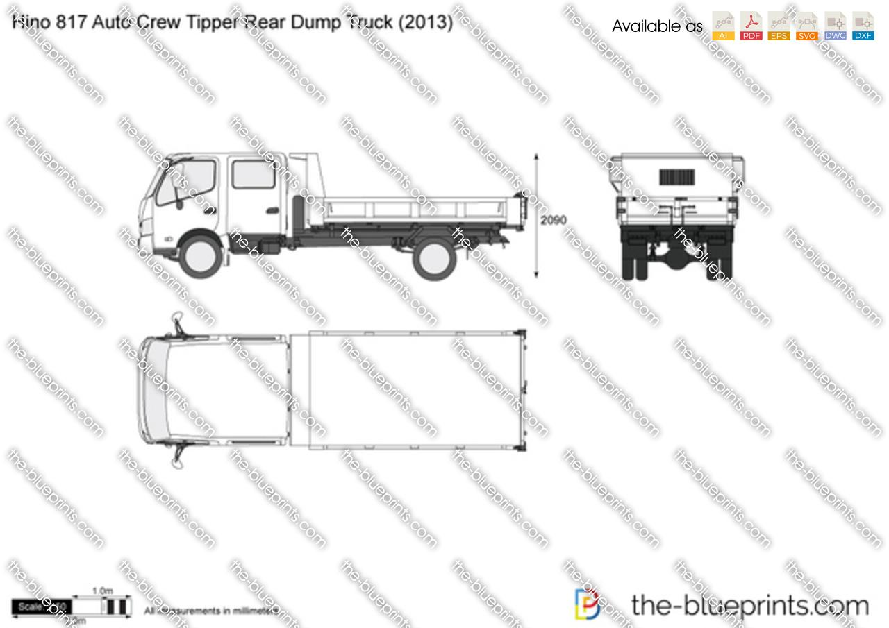 Hino 817 Auto Crew Tipper Rear Dump Truck vector drawing