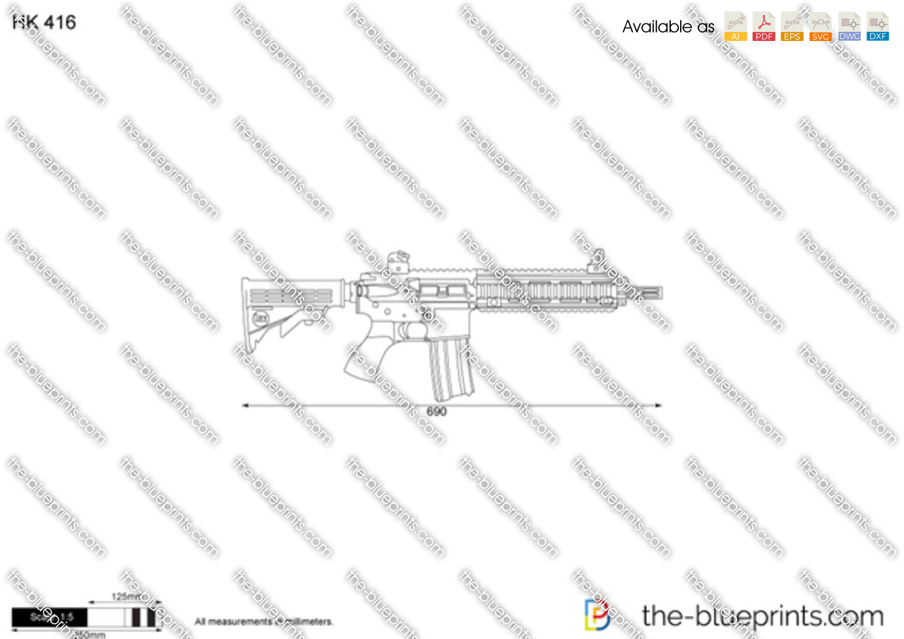 Hk 416 on scale car drawing