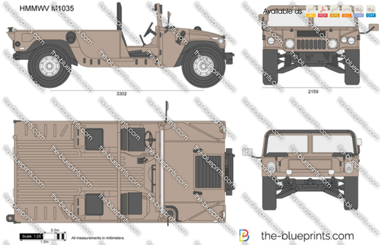 Hmmwv M1035 Vector Drawing