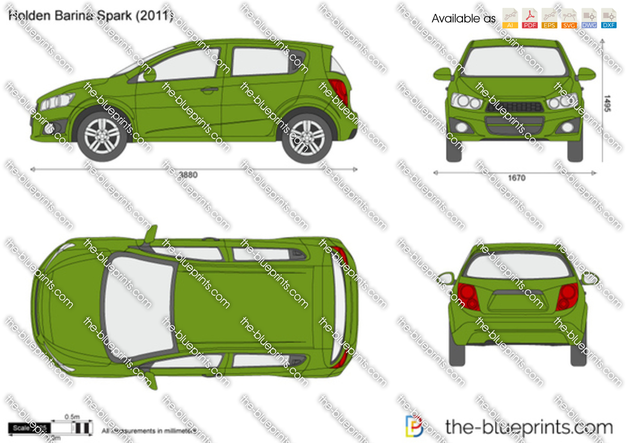 Holden Barina Spark Vector Drawing