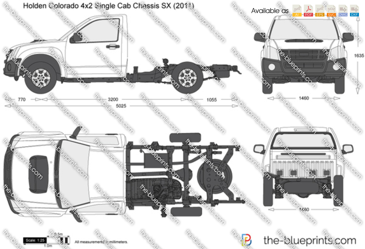 Holden Colorado 4x2 Single Cab Chassis Sx Vector Drawing