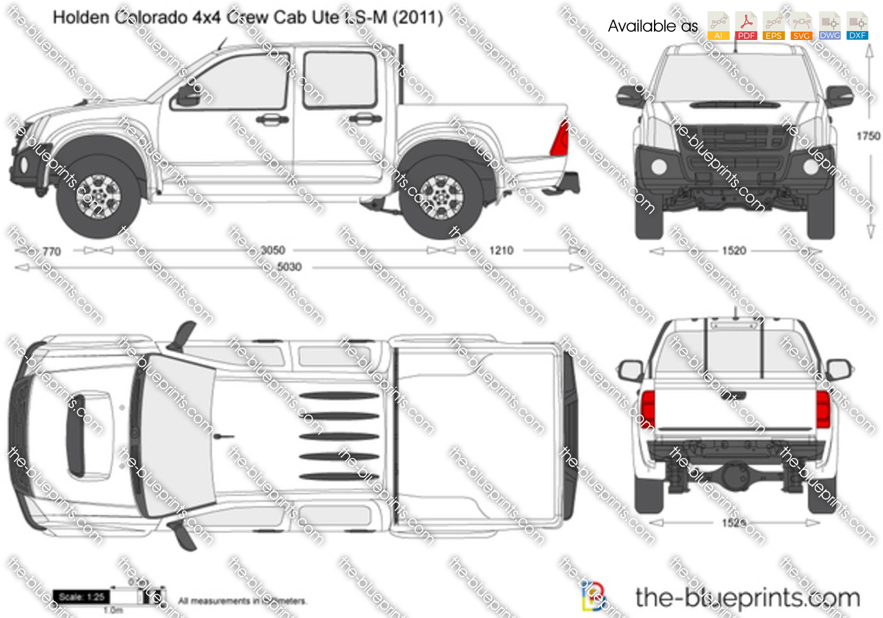 Holden Colorado 4x4 Crew Cab Ute Ls M Vector Drawing
