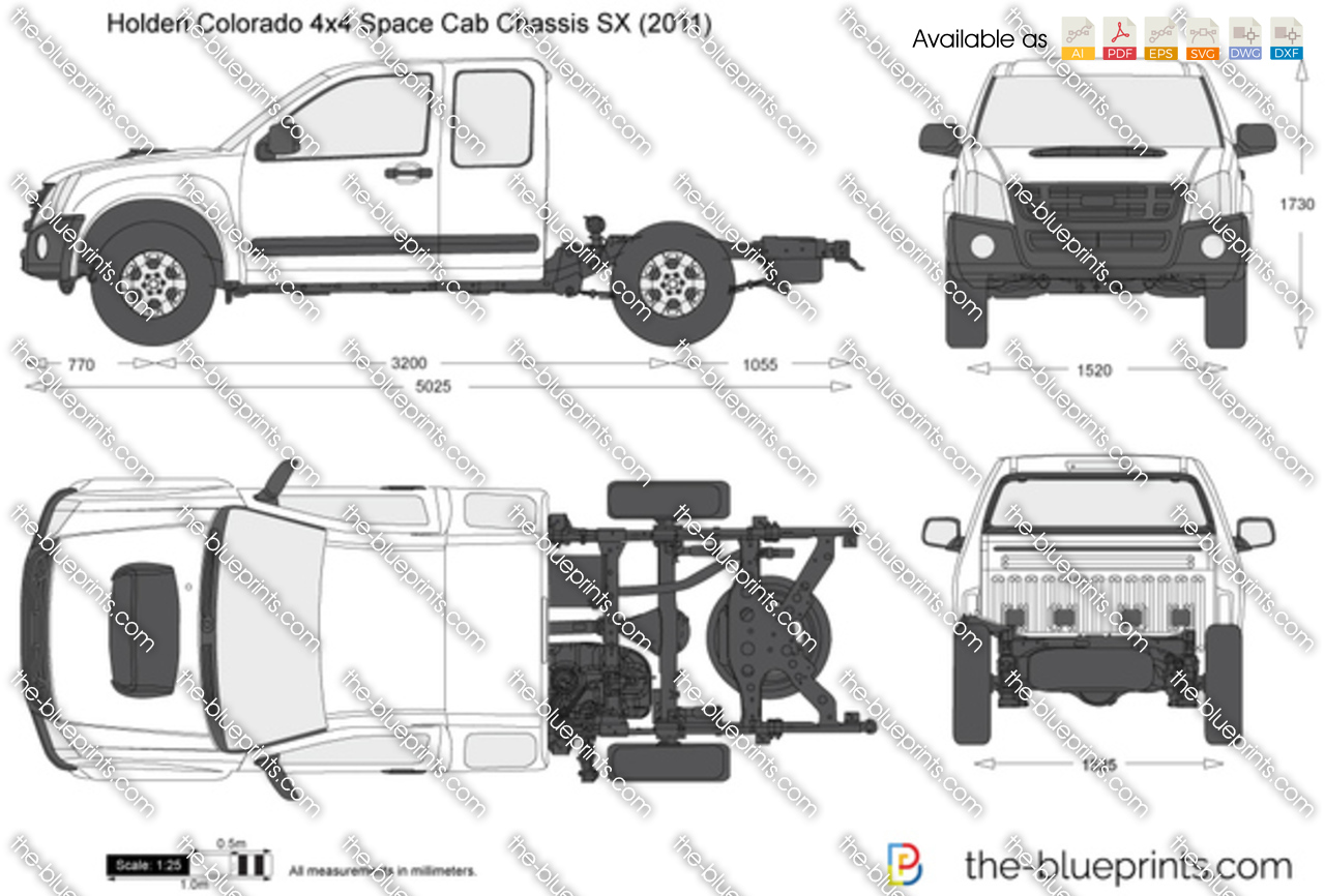 Holden Colorado 4x4 Space Cab Chassis Sx Vector Drawing