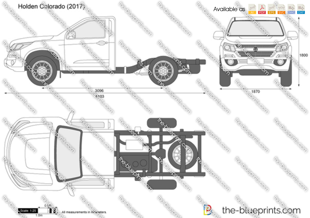 Holden Colorado Chassis Cab Vector Drawing
