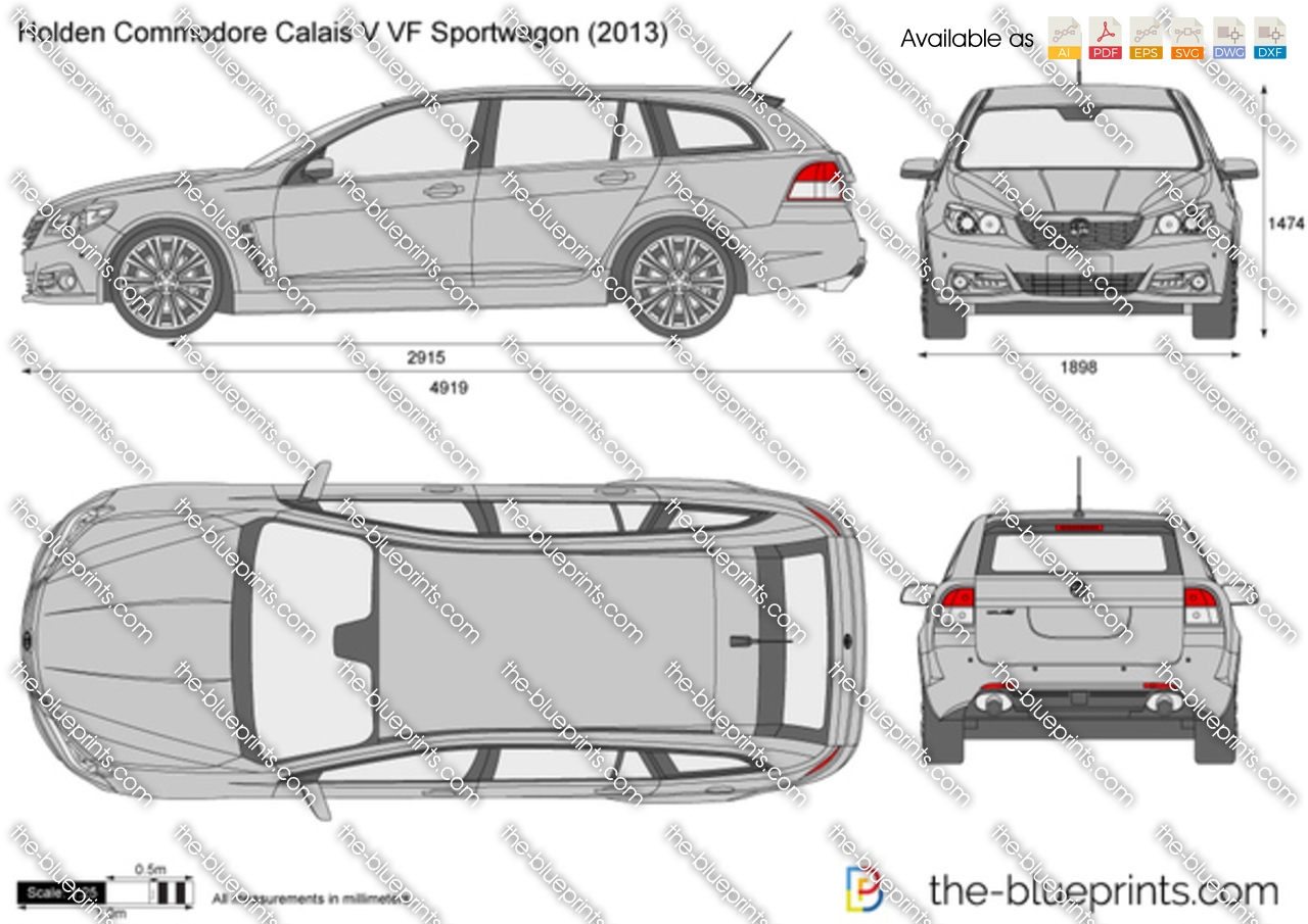 Holden Commodore Calais V Vf Sportwagon Vector Drawing