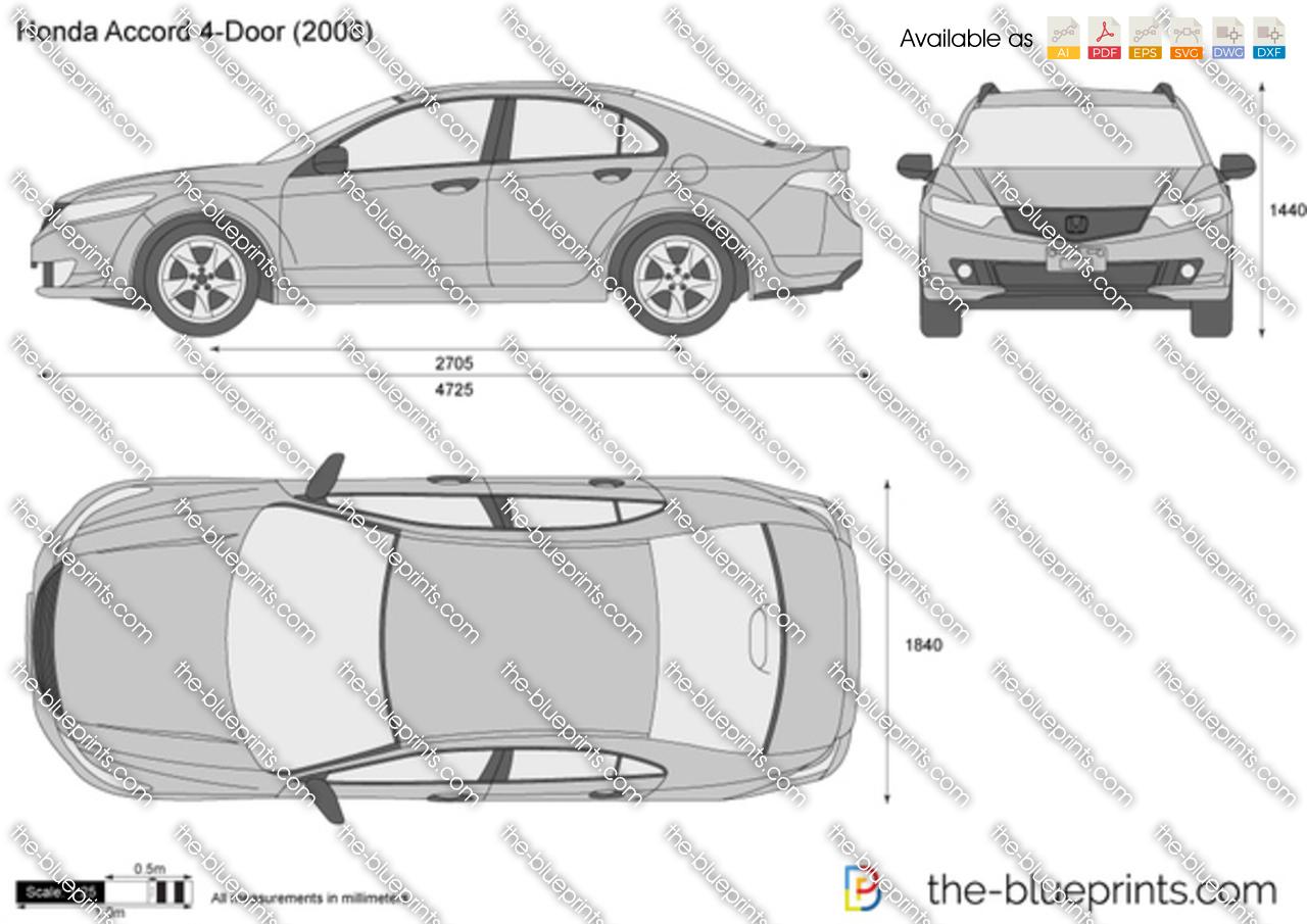 Honda Accord Size ~ The-Blueprints.com - Vector Drawing - Honda Accord