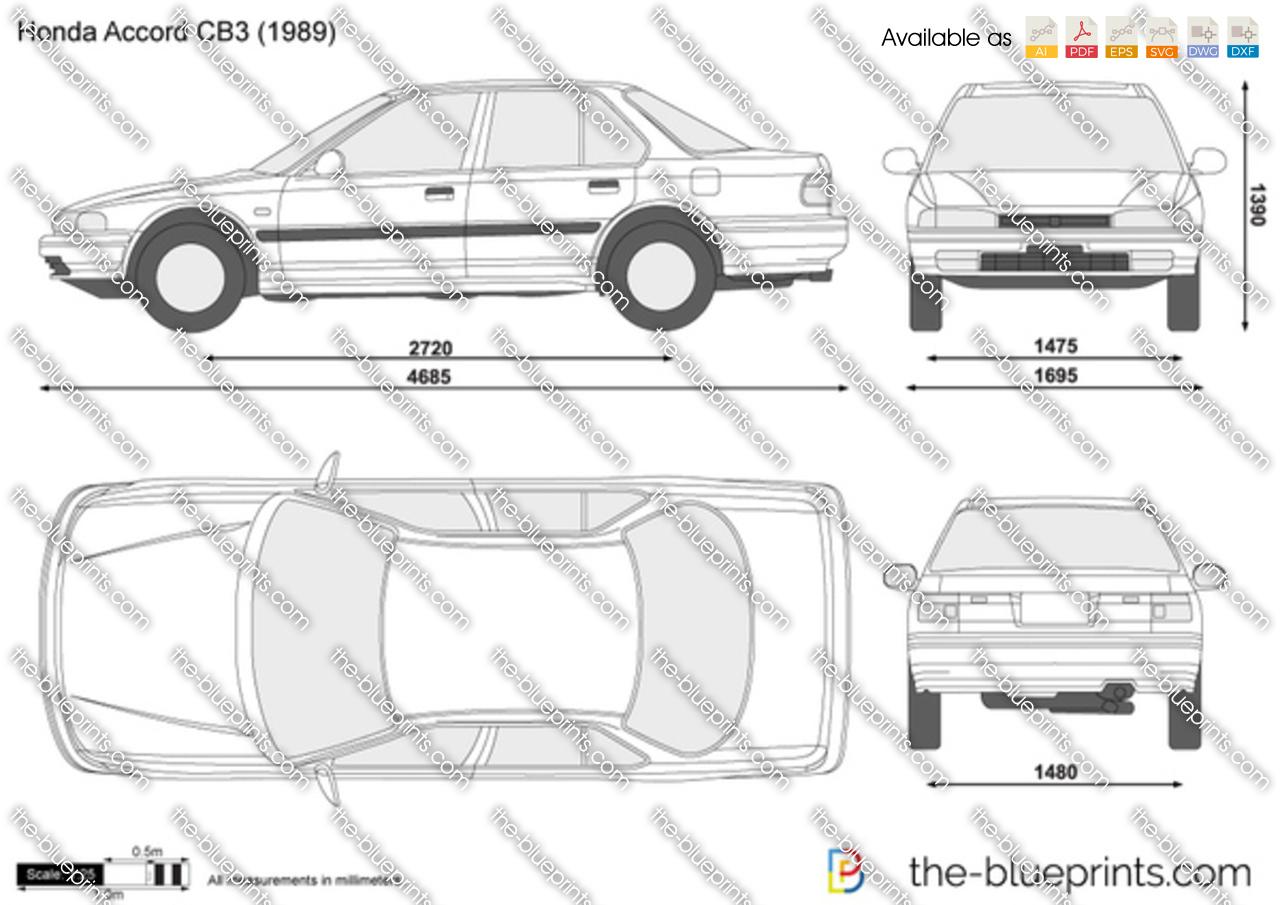 Honda Accord Cb3 Vector Drawing