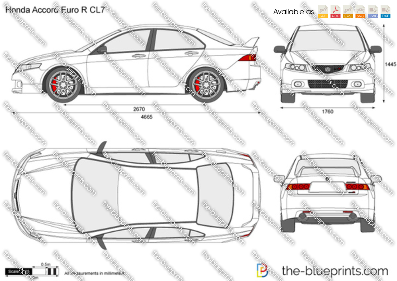 Honda Accord Euro R Cl7 Vector Drawing
