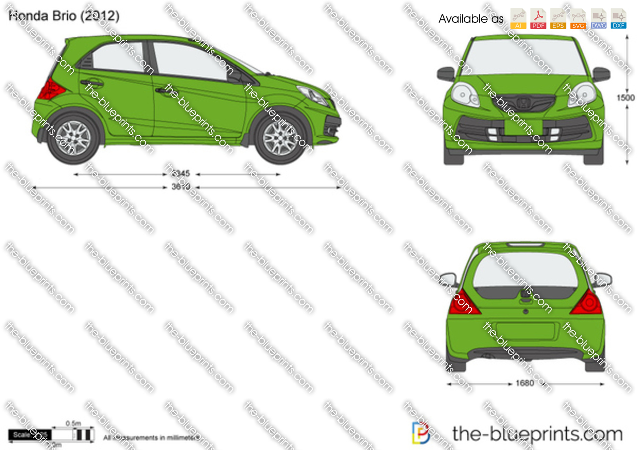 Honda Brio Vector Drawing