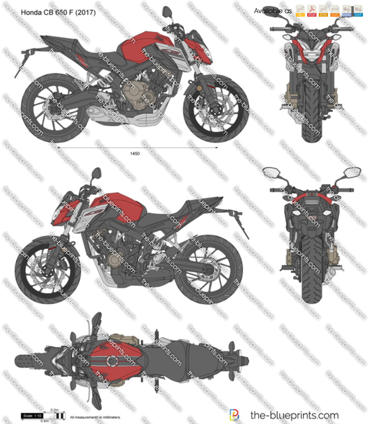 honda cb 650 f vector drawing. Black Bedroom Furniture Sets. Home Design Ideas