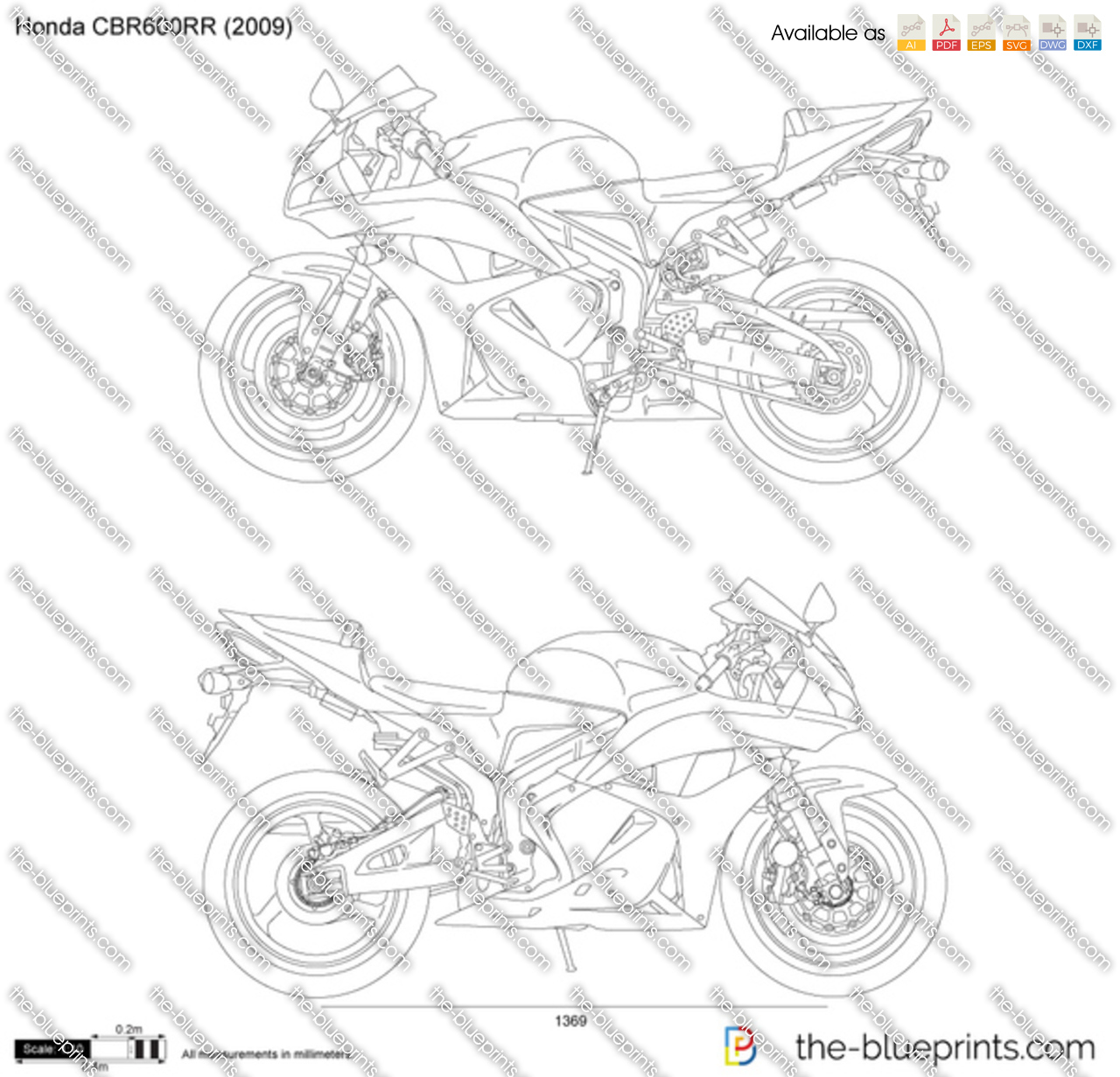 honda cbr600rr vector drawing