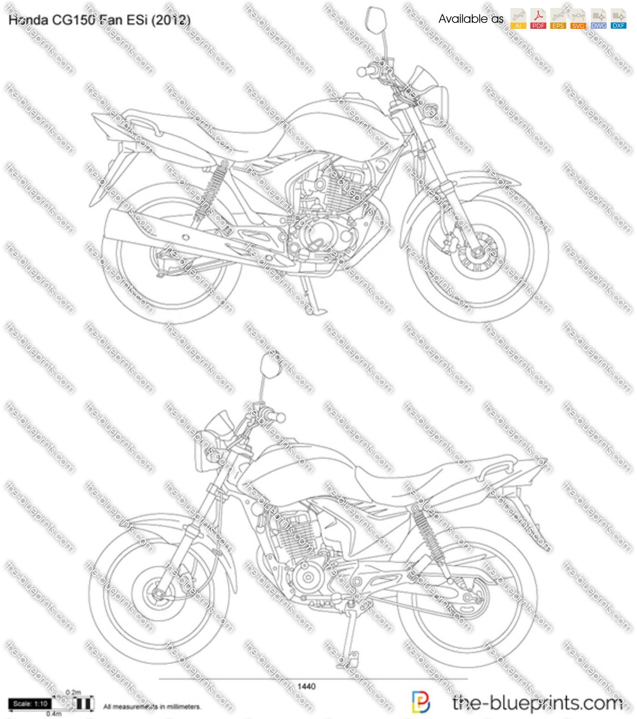 Honda Color Chart >> Honda CG150 Fan ESi vector drawing
