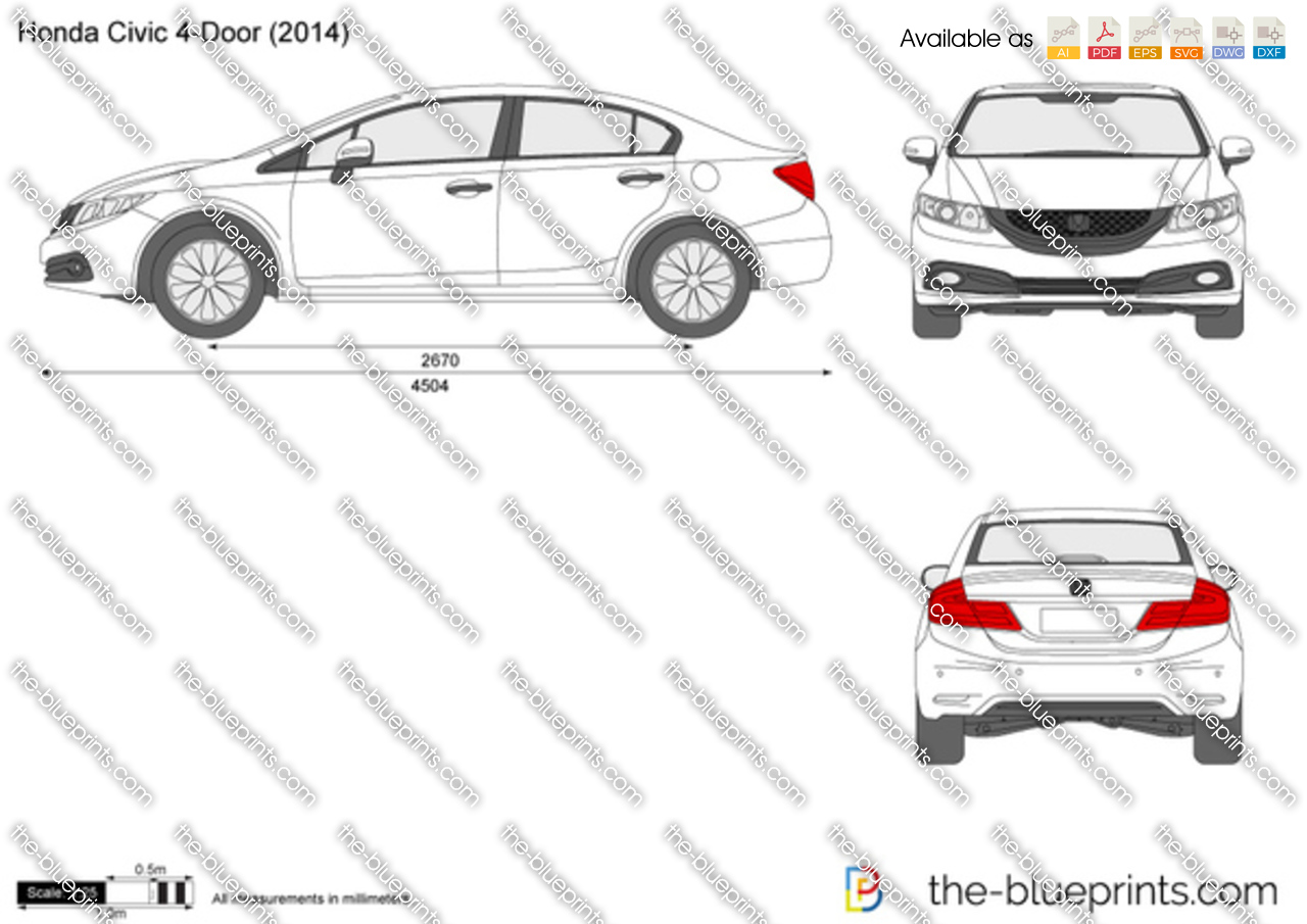 Honda Civic 4 Door Vector Drawing