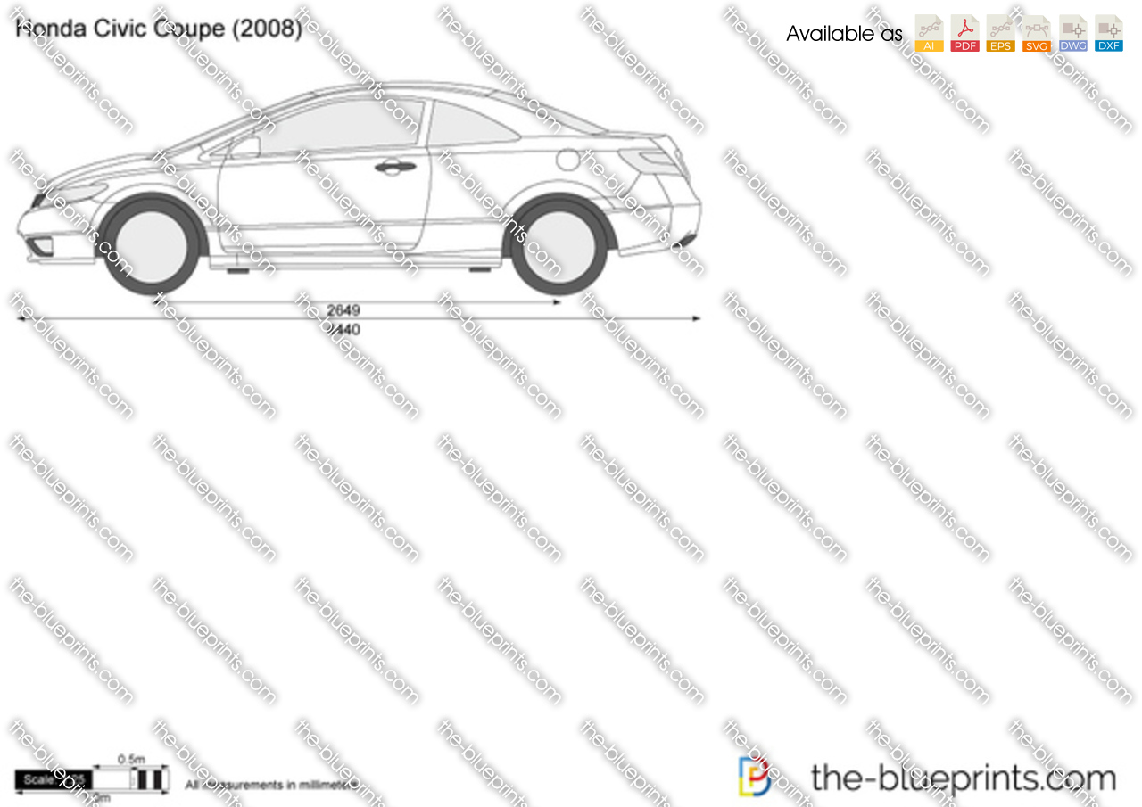 Honda Civic Coupe Vector Drawing