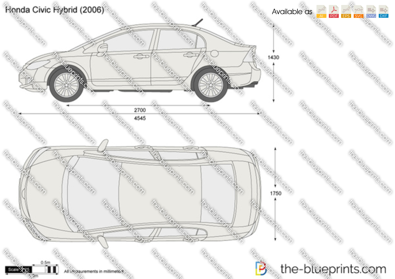 Honda Civic Hybrid Vector Drawing