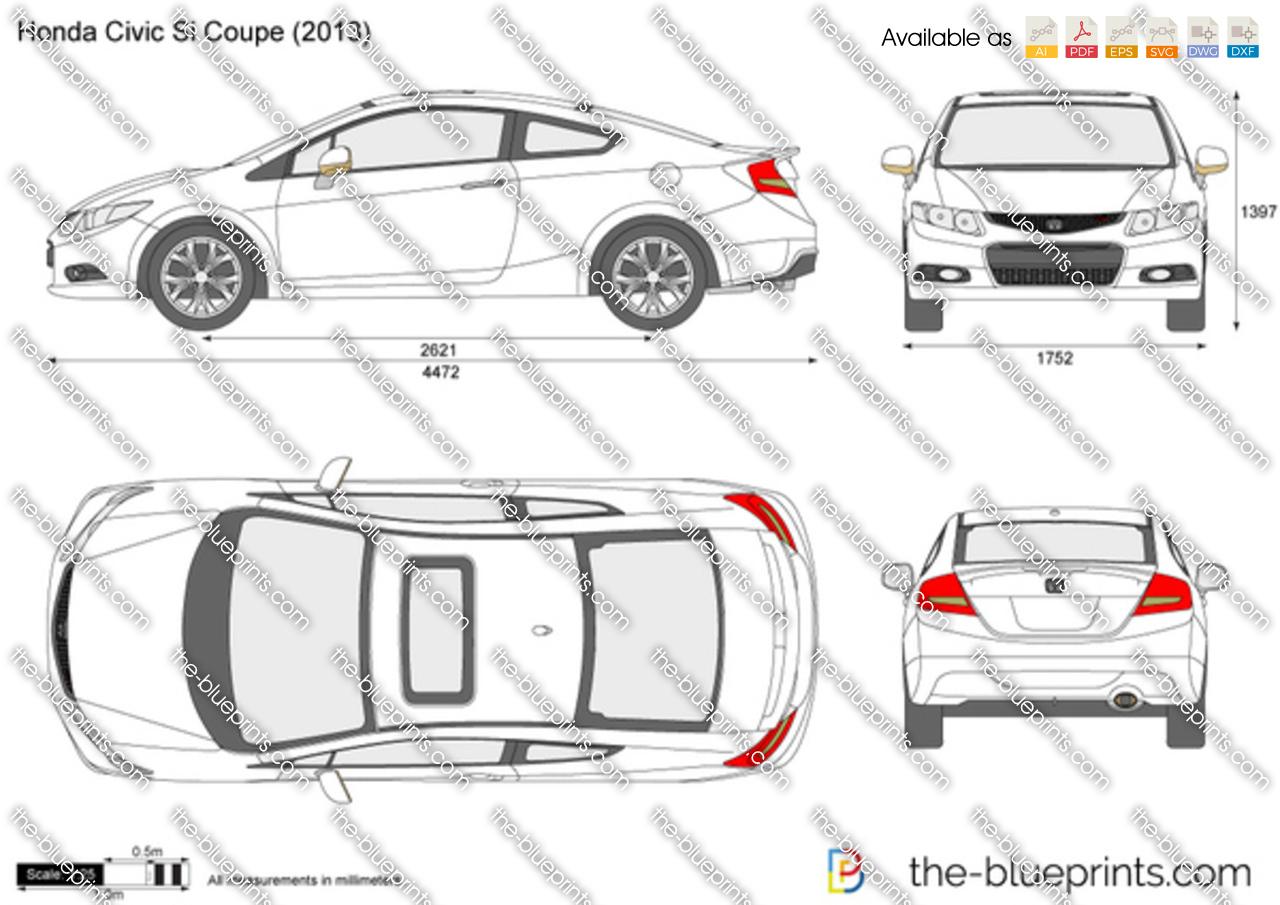 2014 Honda Civic Si For Sale >> Honda Civic Si Coupe vector drawing