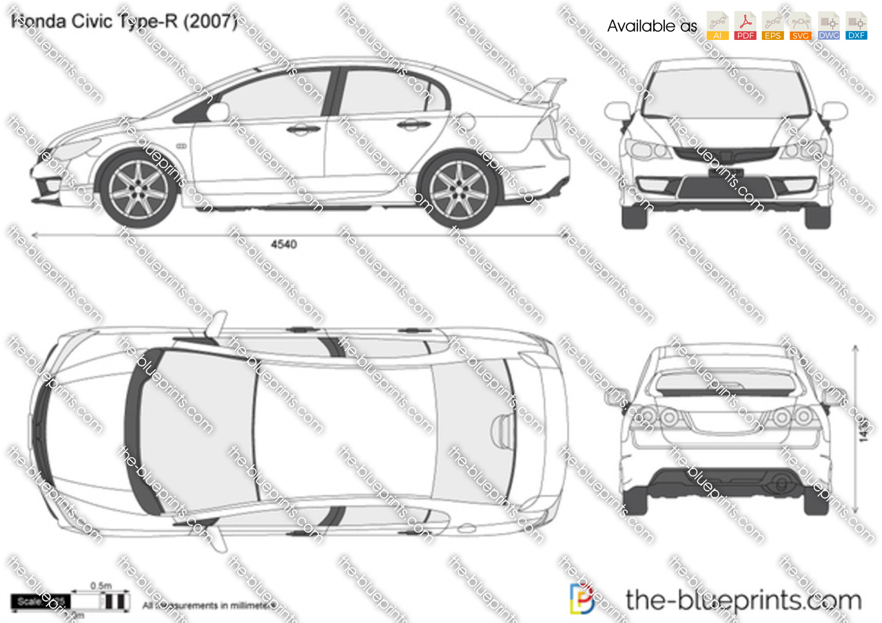 The Blueprints Com Vector Drawing Honda Civic Type R