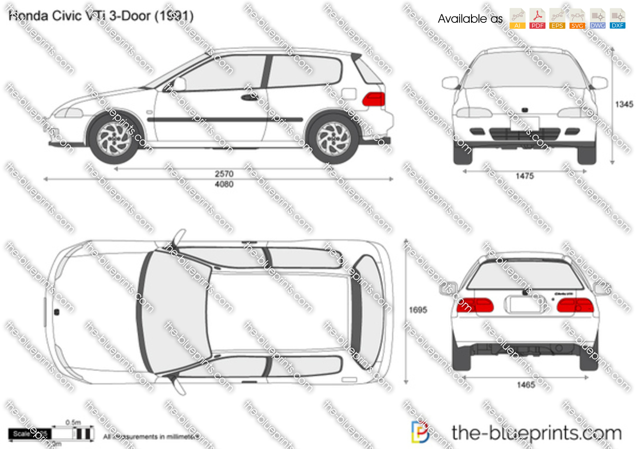 the blueprints     vector drawing   honda civic vti 3 door