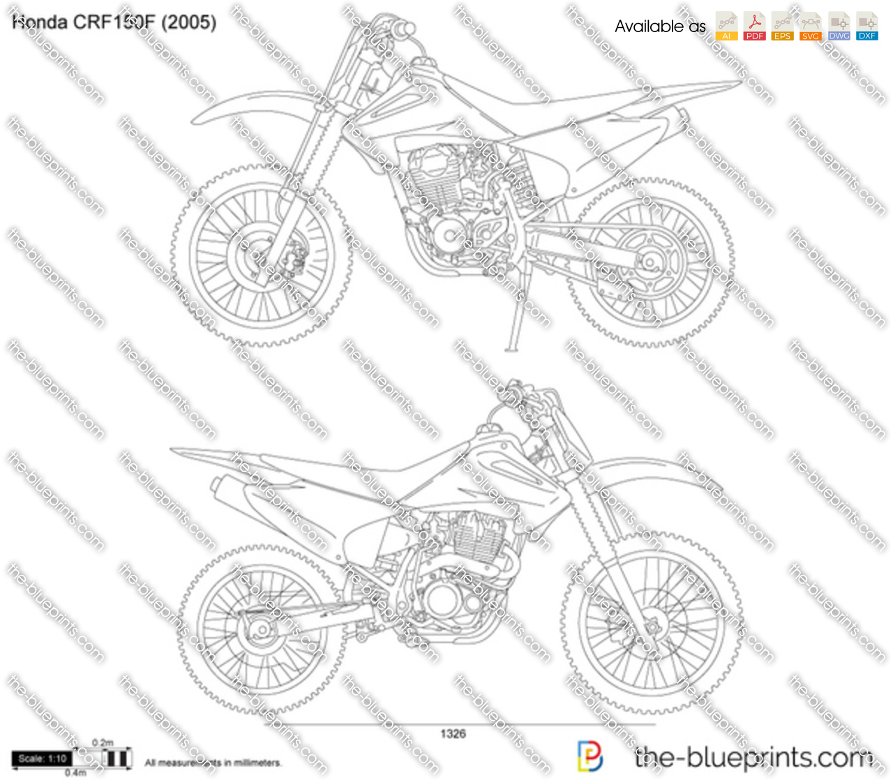 honda crf150f vector drawing