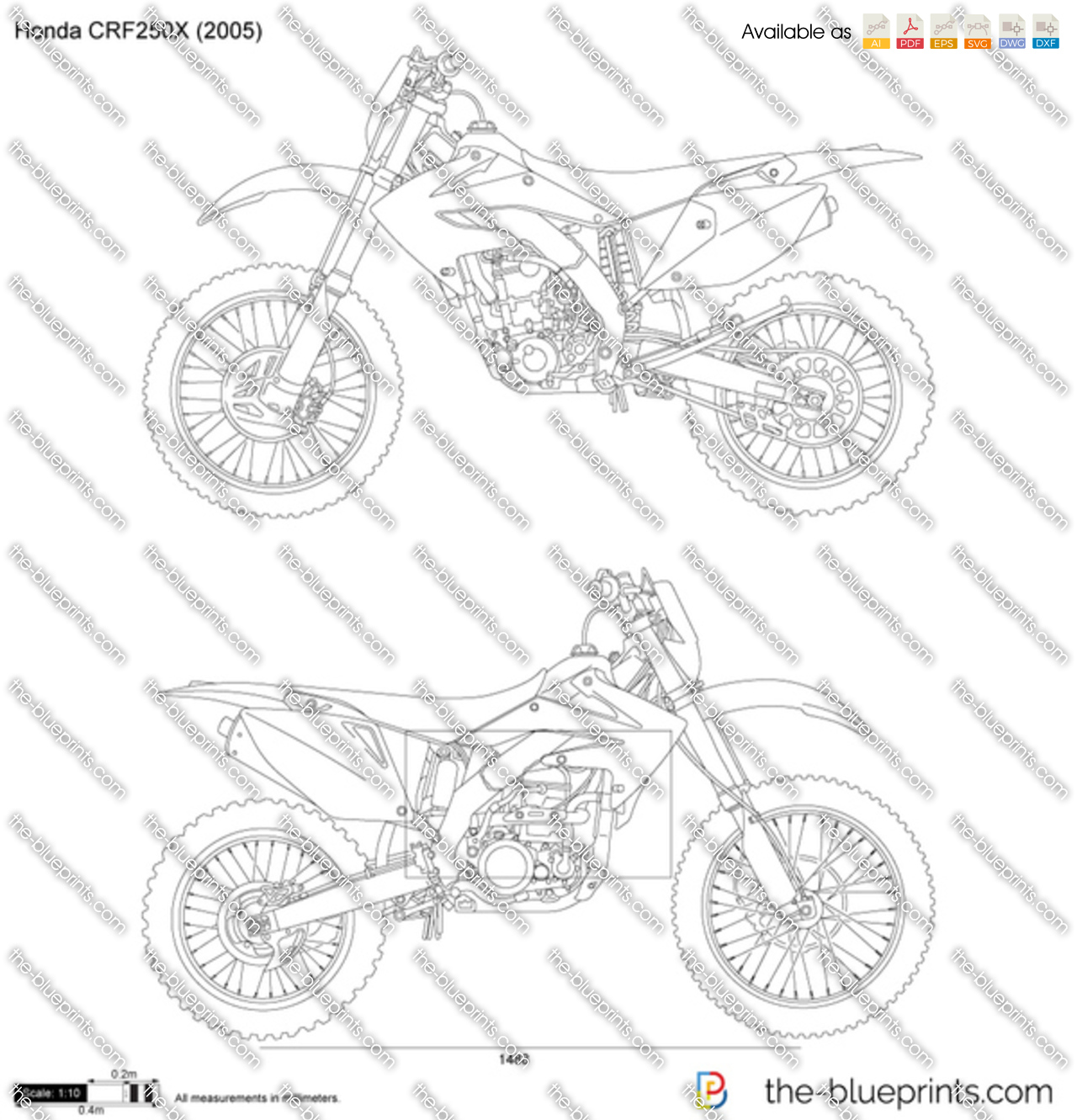 honda crf250x vector drawing