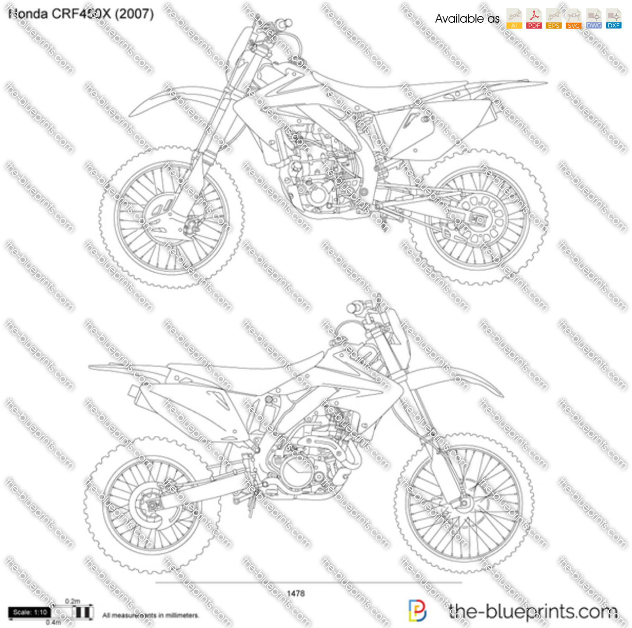 honda crf450x vector drawing