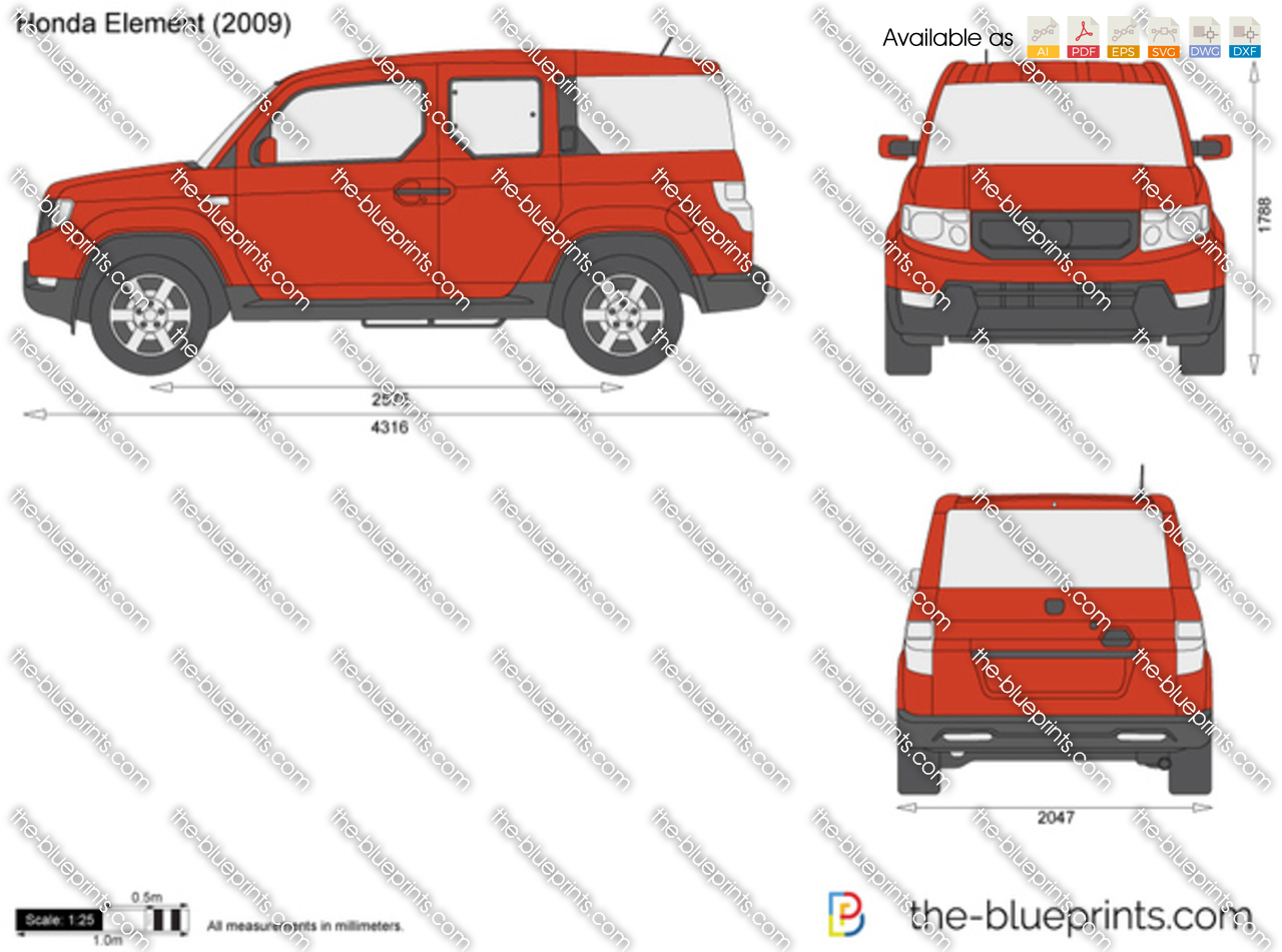 Honda Element Vector Drawing