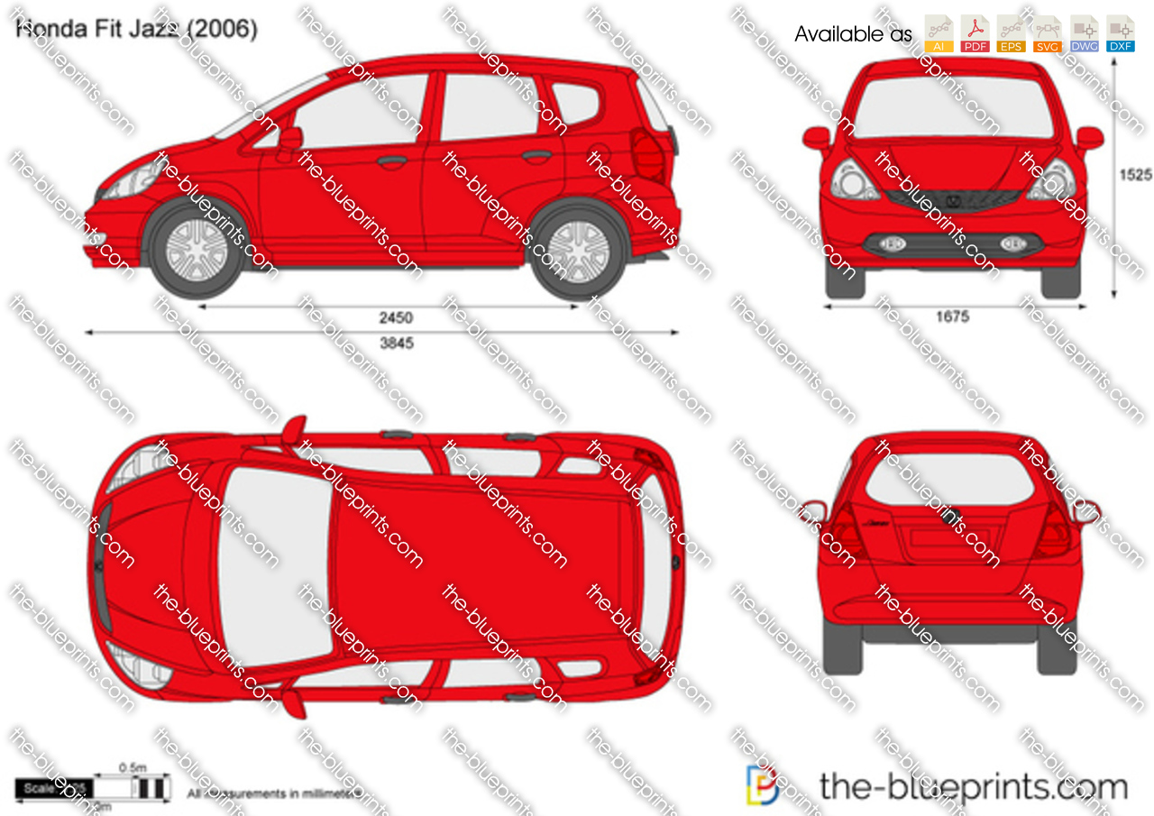 the vector drawing honda fit jazz. Black Bedroom Furniture Sets. Home Design Ideas