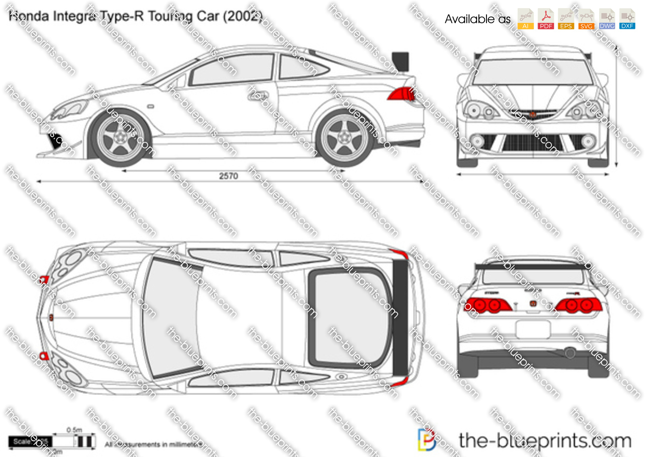 Honda integra type r touring car vector drawing honda integra type r touring car malvernweather Gallery