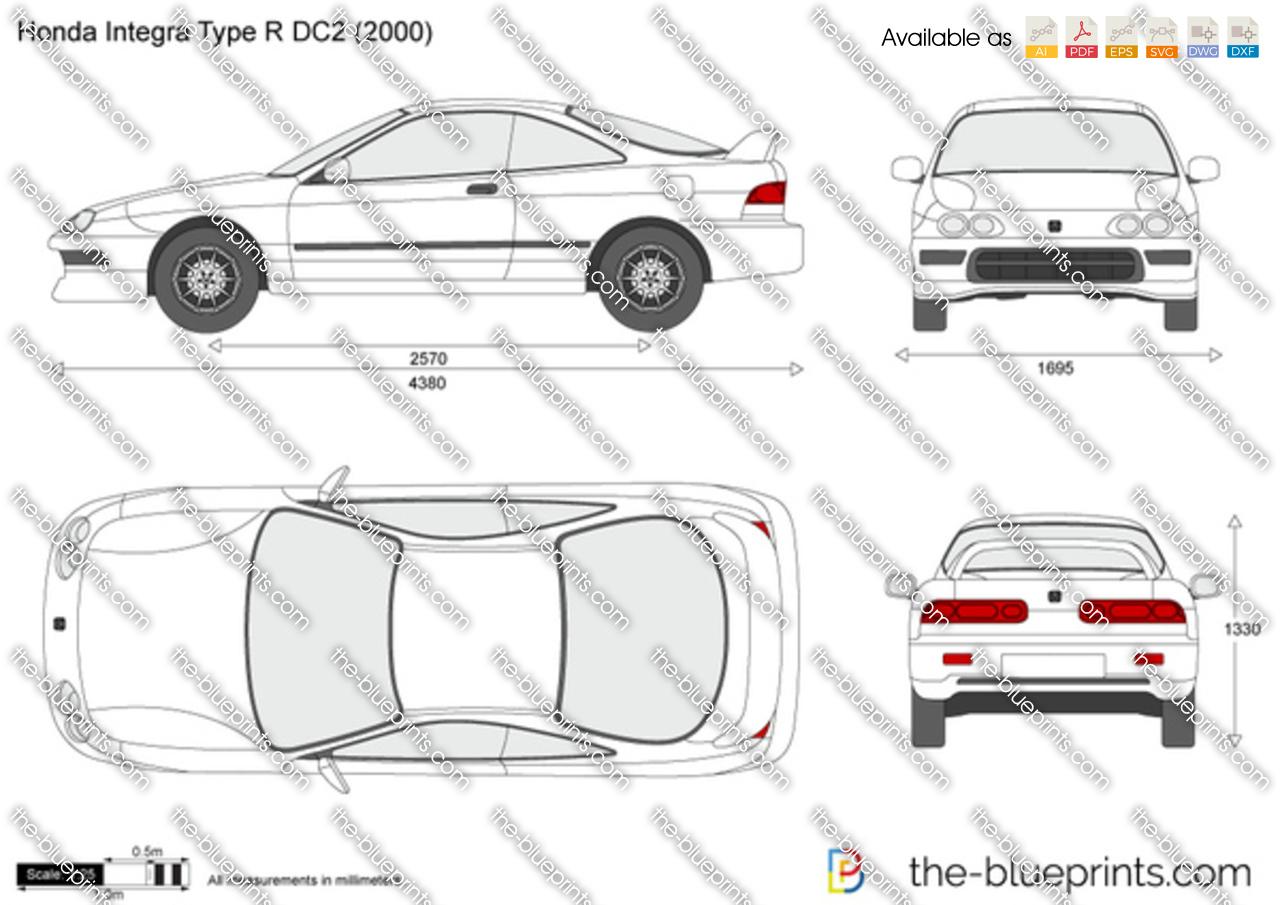 honda integra type r dc2 vector drawing