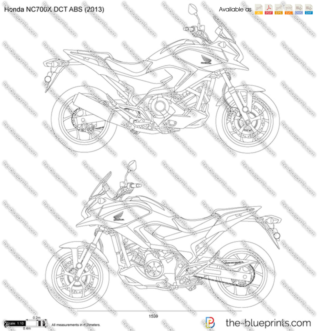 honda nc700x dct abs vector drawing