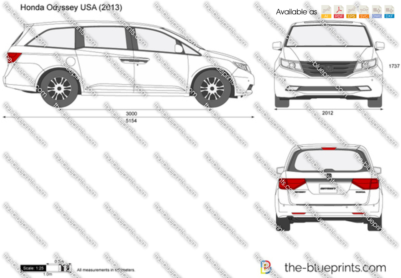 the blueprints     vector drawing   honda odyssey usa