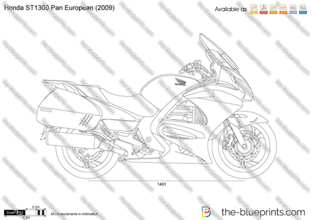 honda st1300 pan european vector drawing