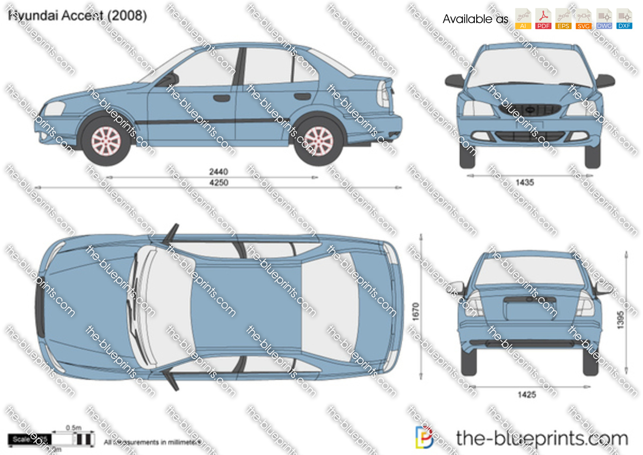 Hyundai Accent Vector Drawing
