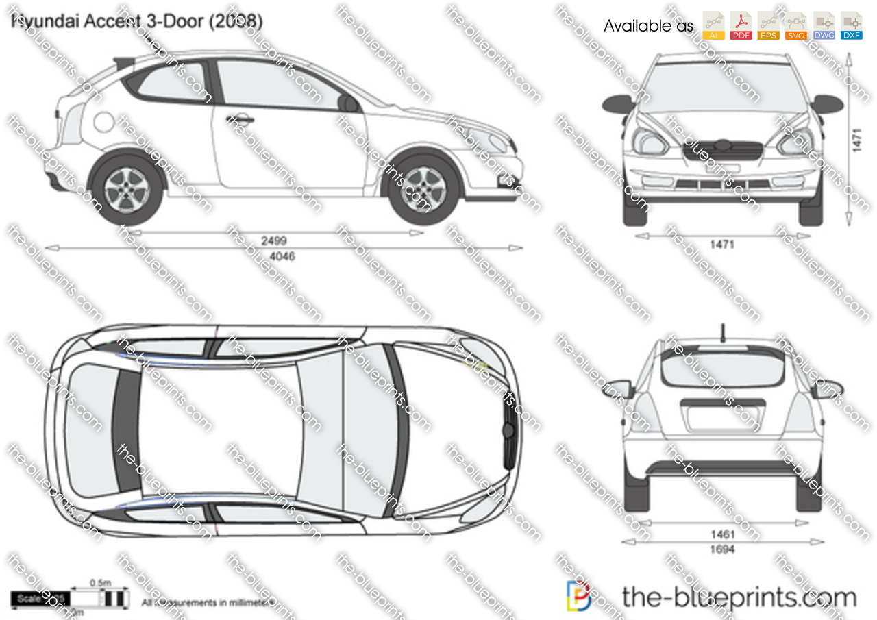 Hyundai Accent 3 Door Vector Drawing