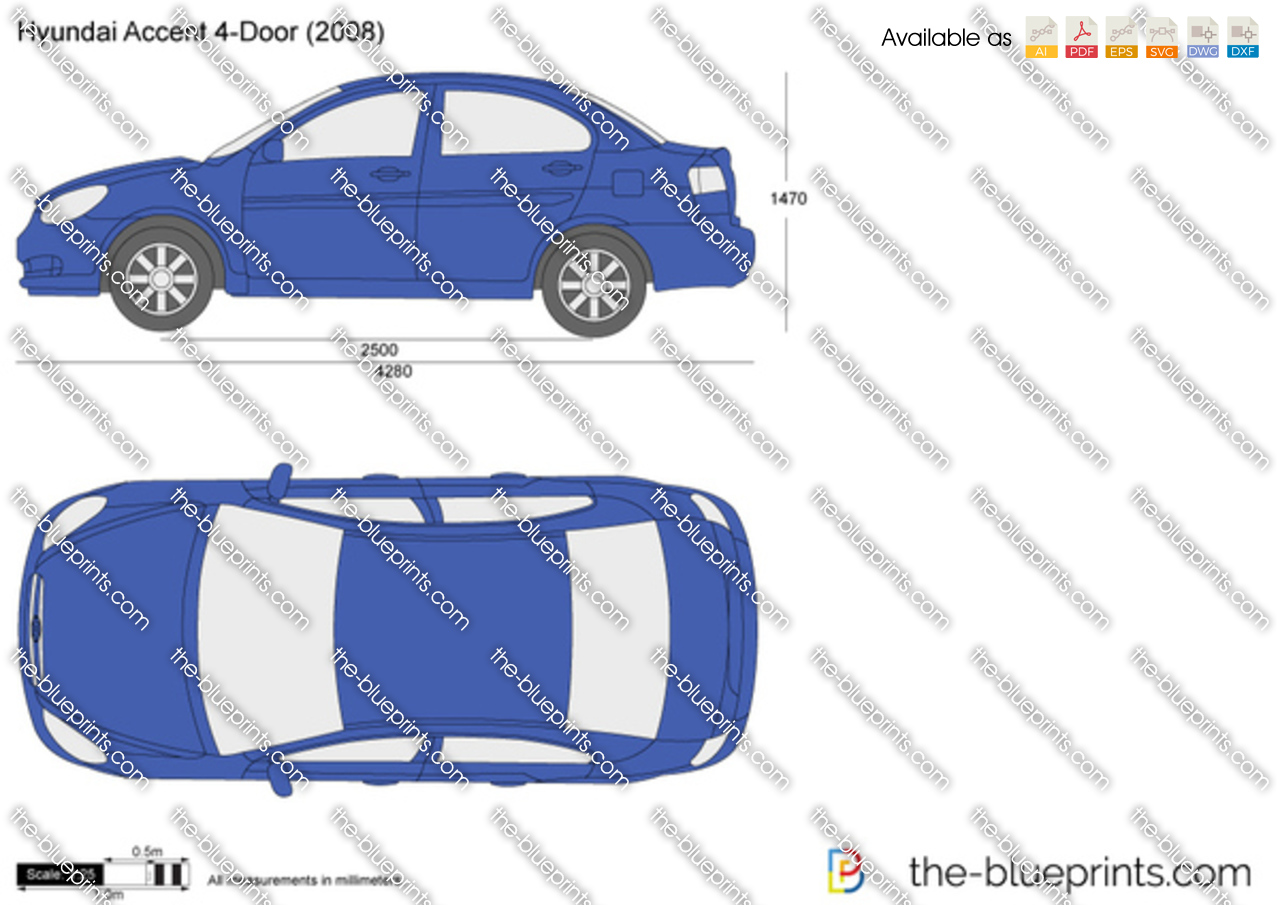 Hyundai Accent 4 Door Vector Drawing