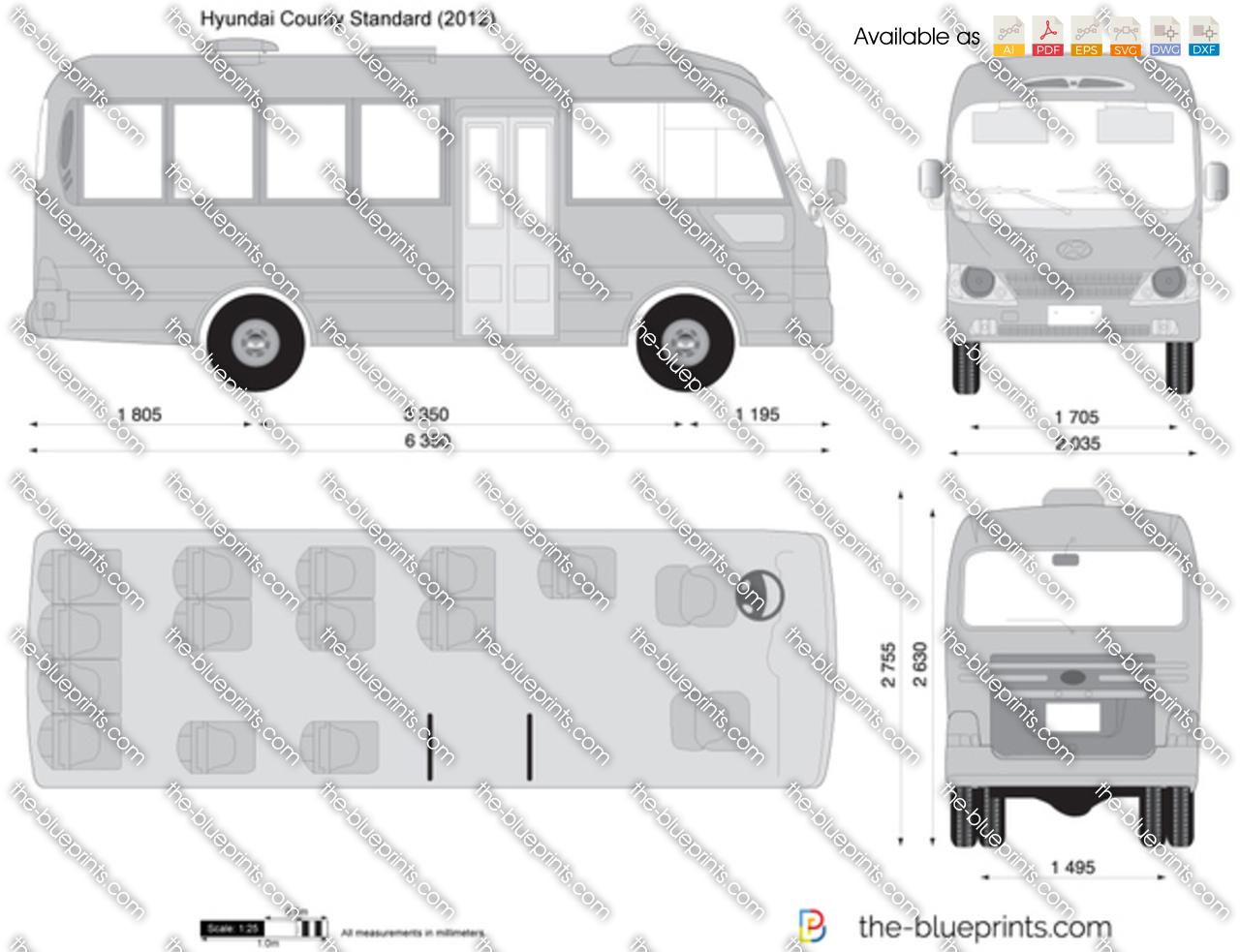 Hyundai County Standard Vector Drawing
