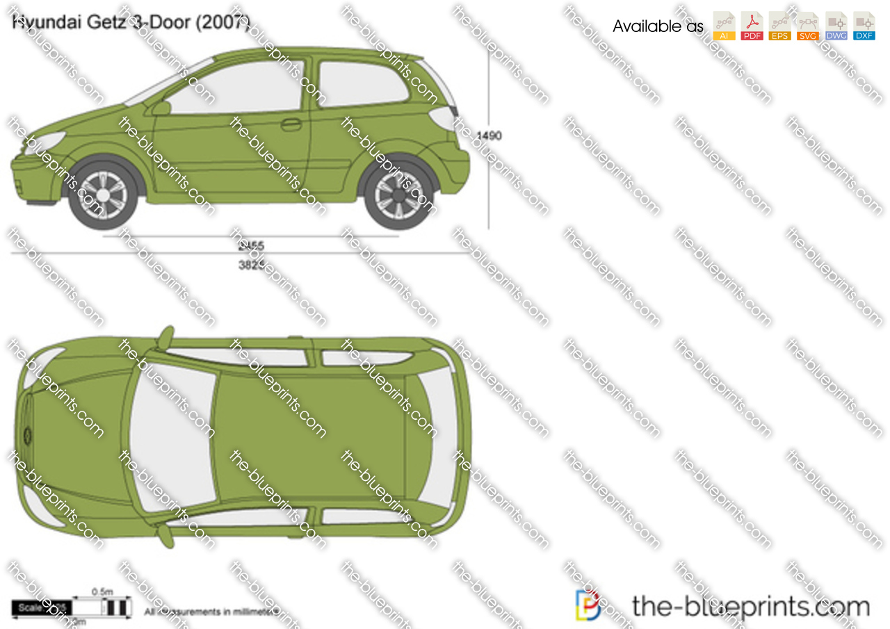 Hyundai Getz 3 Door Vector Drawing
